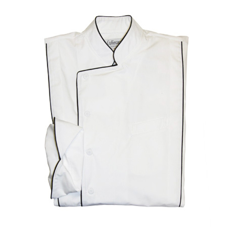 Milan Chef Coat in White Poplin with Black Cording