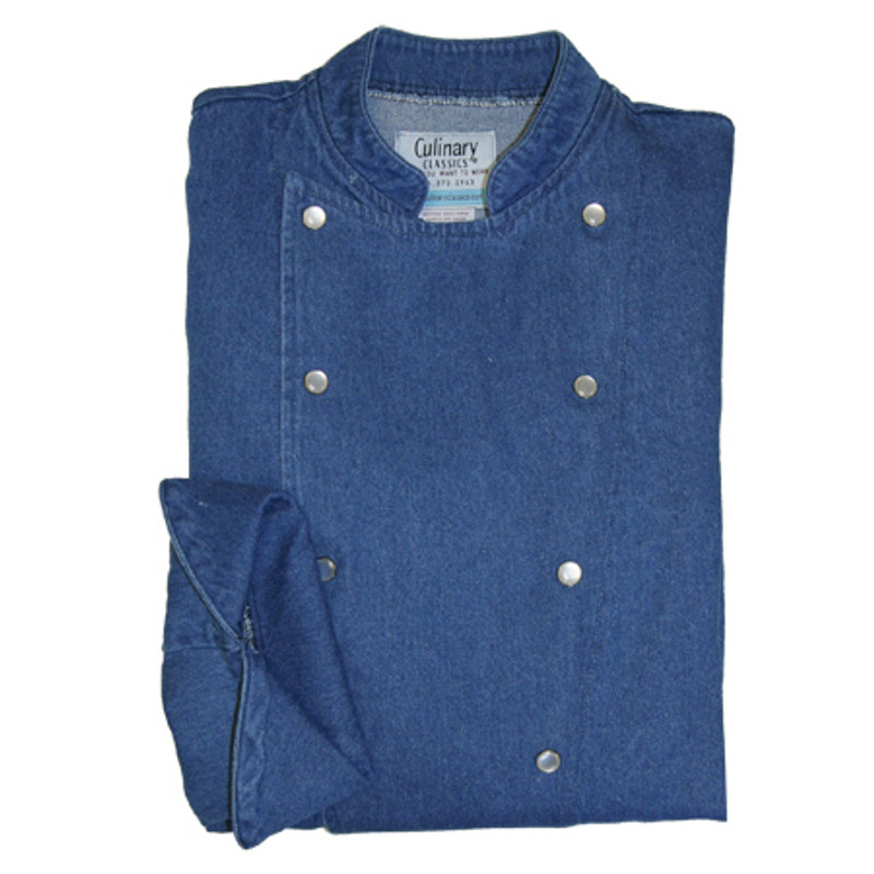 Traditional Chef Coat in Blue Denim with Pearl Snap Buttons