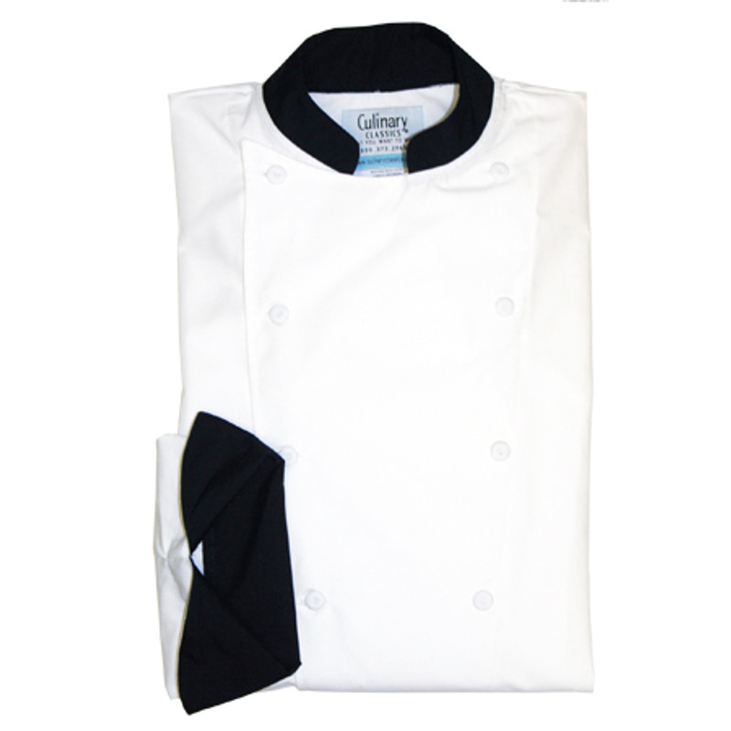 Traditional Chef Coat in White Poplin with Black Conversions