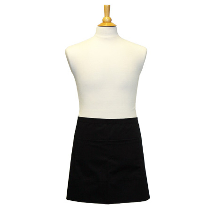 Premium Waist Apron with Divided Front Pocket in Black Soil-Release Twill