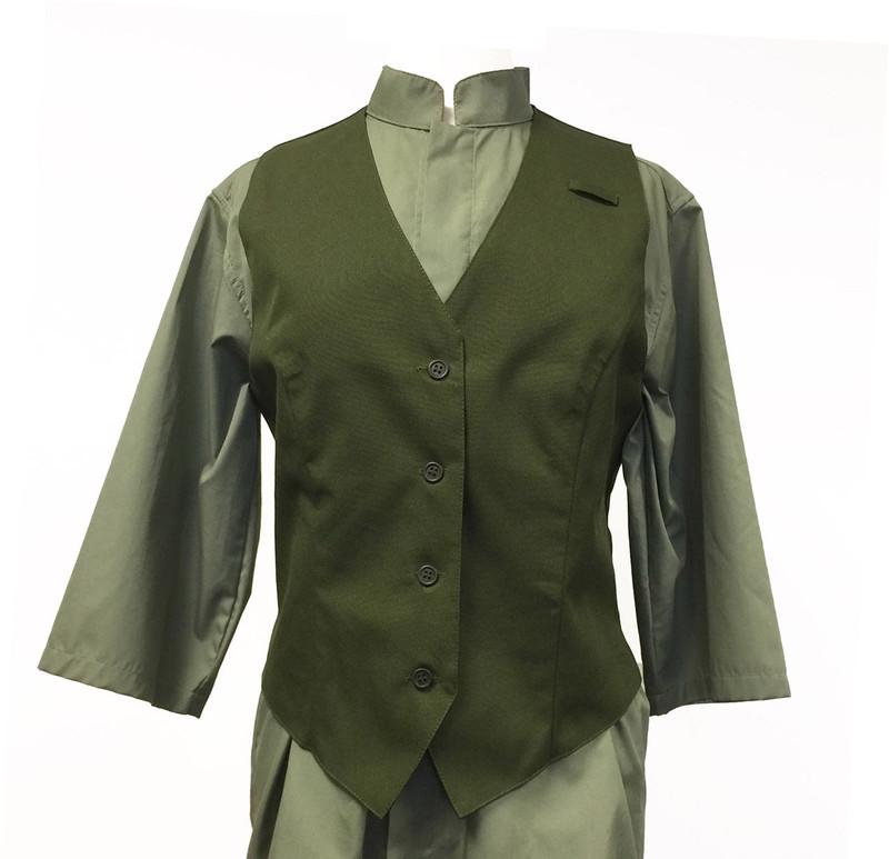 Women's Olive Green 4 Button Vest