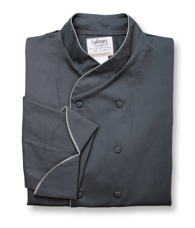 Imperial Chef Coat in Charcoal with Gray Cording