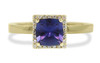 1.38 carat GIA certified square, faceted cut purple sapphire with twenty four brilliant white diamond halo set in 14k yellow gold flat band. Front view on white background