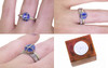 1.66 carat hand-cut blue sapphire 2mm flat 14k white gold band with Wedding Band 14k white gold with 16 Gray Diamonds views on a hand with wooden box stamped with wax seal Chinchar/Maloney logo
