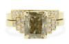 3.03 carat Champagne Diamond, emerald, rectangle cut engagement ring with shadow wedding band stacked with it.   Set is made in 14k recycled yellow gold.  White diamonds on the shoulders and in the weddings band.  Geometric design with art deco style.  Front view white background.