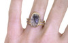 3.49 carat cushion, rose cut textured opaque gray bezel set diamond ring set in 14k yellow gold with six 1.2mm brilliant gray diamonds set in 1/2 round band. With Eternity Wedding Band with 1.2mm brilliant gray diamonds set in 14k yellow gold 4mm wide and 1.5mm thick flat band on a hand