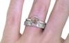 .61 carat  rose cut rosey pink bezel set diamond ring set in 14k white gold flat band. With Organic Wedding Band with brilliant gray and white diamonds set in 14k white gold 4mm flat band on a hand