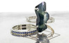 5.93 carat hand-cut blue green sapphire six 1.2mm rough diamonds set in 14k white gold band with 14k white gold Wedding Band with 16 blue sapphires