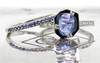 KIKAI 1.37 carat free form rose cut blue sapphire with six 1.2mm brilliant white diamonds set in band set in 14k white gold flat band. With wedding band with 16 blue sapphires set in 14k white gold. Part of our New Classic Collection