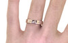 14k yellow gold wedding band with brilliant champagne diamonds set in star detail half way around band modeled on hand