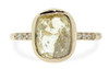 2.46 carat cushion, rose cut translucent rustic champagne/white bezel set diamond ring set in 14k yellow gold with six 1.2mm brilliant gray diamonds set in 1/2 round band. Front view on white background