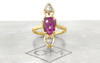 Santorini .59 carat pear rose cut sparkly salt and pepper diamonds and 2.08 carat fancy rose cut rich ruby set in 14k recycled yellow gold, set in our signature setting with 2mm flat band. Part of our New Classic Collection. Front view on metal background with Chinchar/Maloney logo