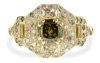 Vesuvio ring in 14k yellow gold.  1.63 carat champagne center diamond, cushion brilliant cut.  Halo and buckle band are covered in organic brilliant champagne, gray, white pave.  Front view on a white background.