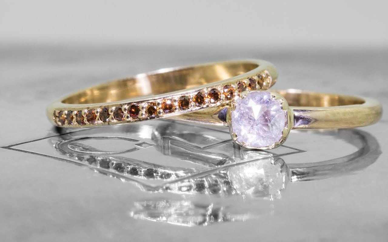 .50 carat  cushion, rose cut icy white bezel set diamond ring set in 14k yellow gold 1/2 round band. With Wedding Band with 16 brilliant cognac diamonds set in 14k yellow gold 1/2 round band.