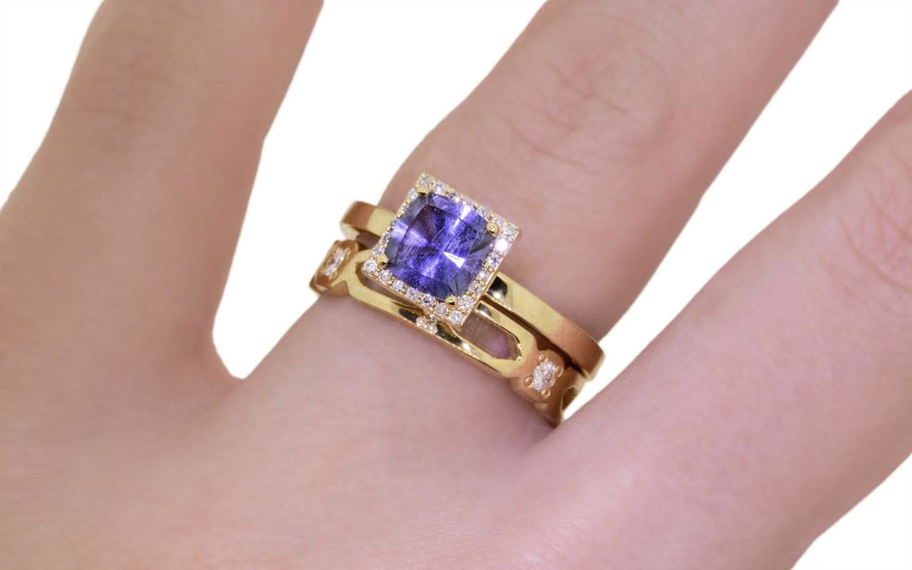 1.38 Carat GIA Purple Sapphire Ring with White Diamond Halo