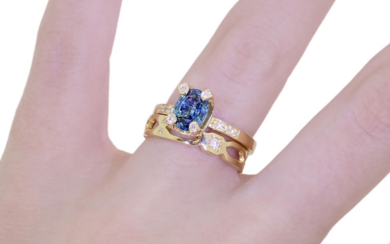 diamond blue ring cushion carat sapphire