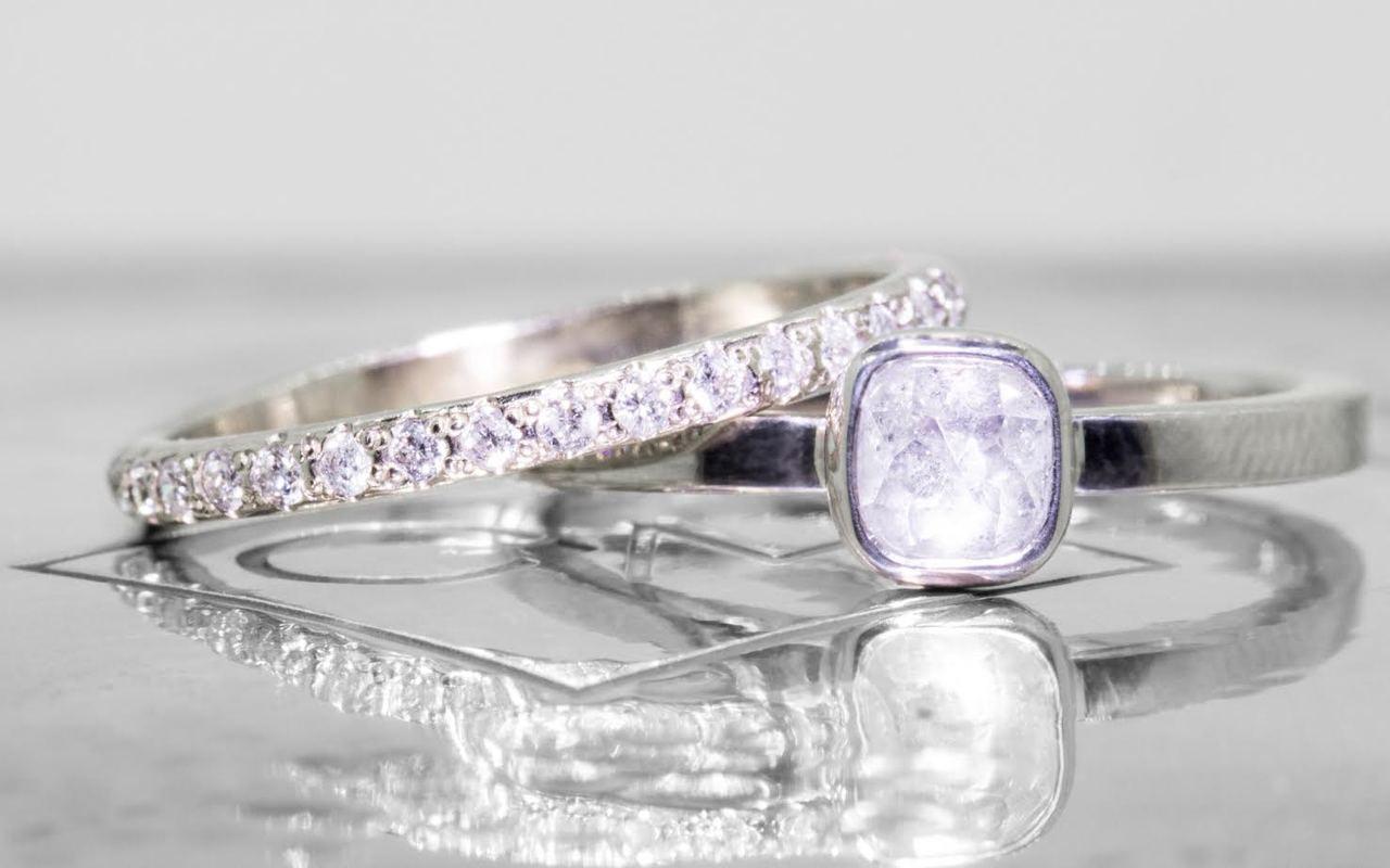 .50 carat  cushion, rose cut icy white bezel set diamond ring set in 14k white gold flat band. With Wedding Band with 16 brilliant gray diamonds set in 14k white gold
