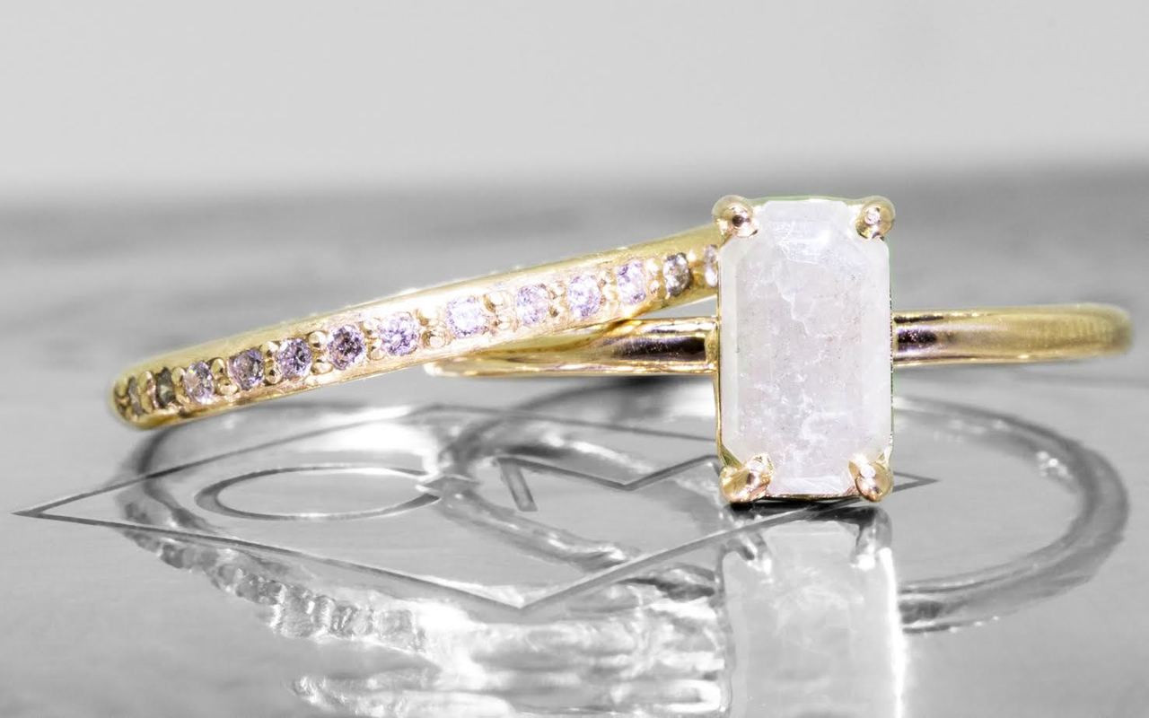 .58 carat fancy-cut gray prong set diamond ring set in 14k yellow gold 1/2 round band. With Wedding Band with 16 white brilliant diamonds set in 14k yellow gold 1/2 round band