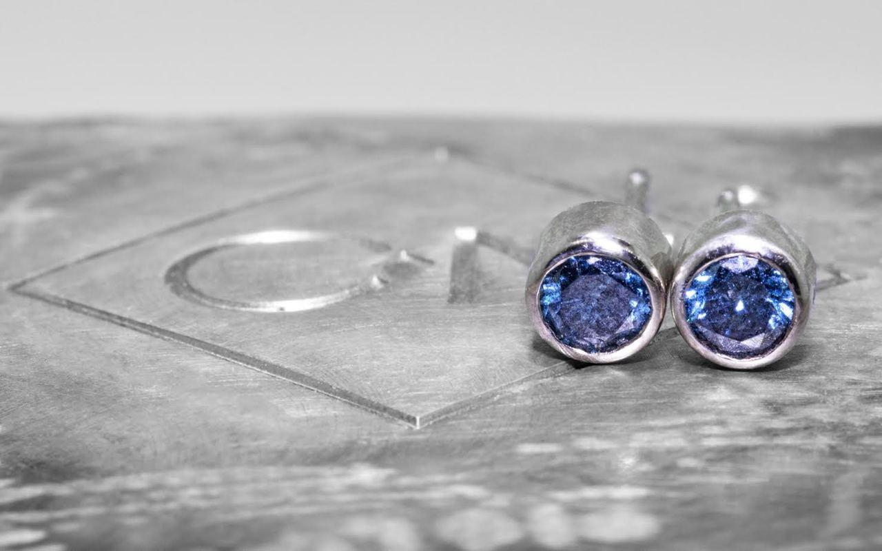 Blue Diamond Earrings in White Gold