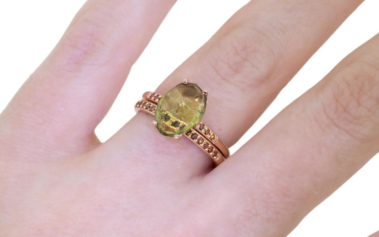 2.2 Carat Green Sapphire Ring in Rose Gold - CHINCHAR•MALONEY