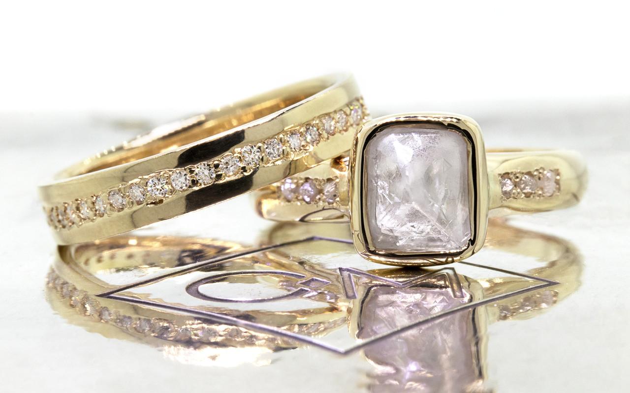 2.47 carat rough gray diamond six rough diamonds 14k yellow gold band with eternity Wedding Band with white Diamonds