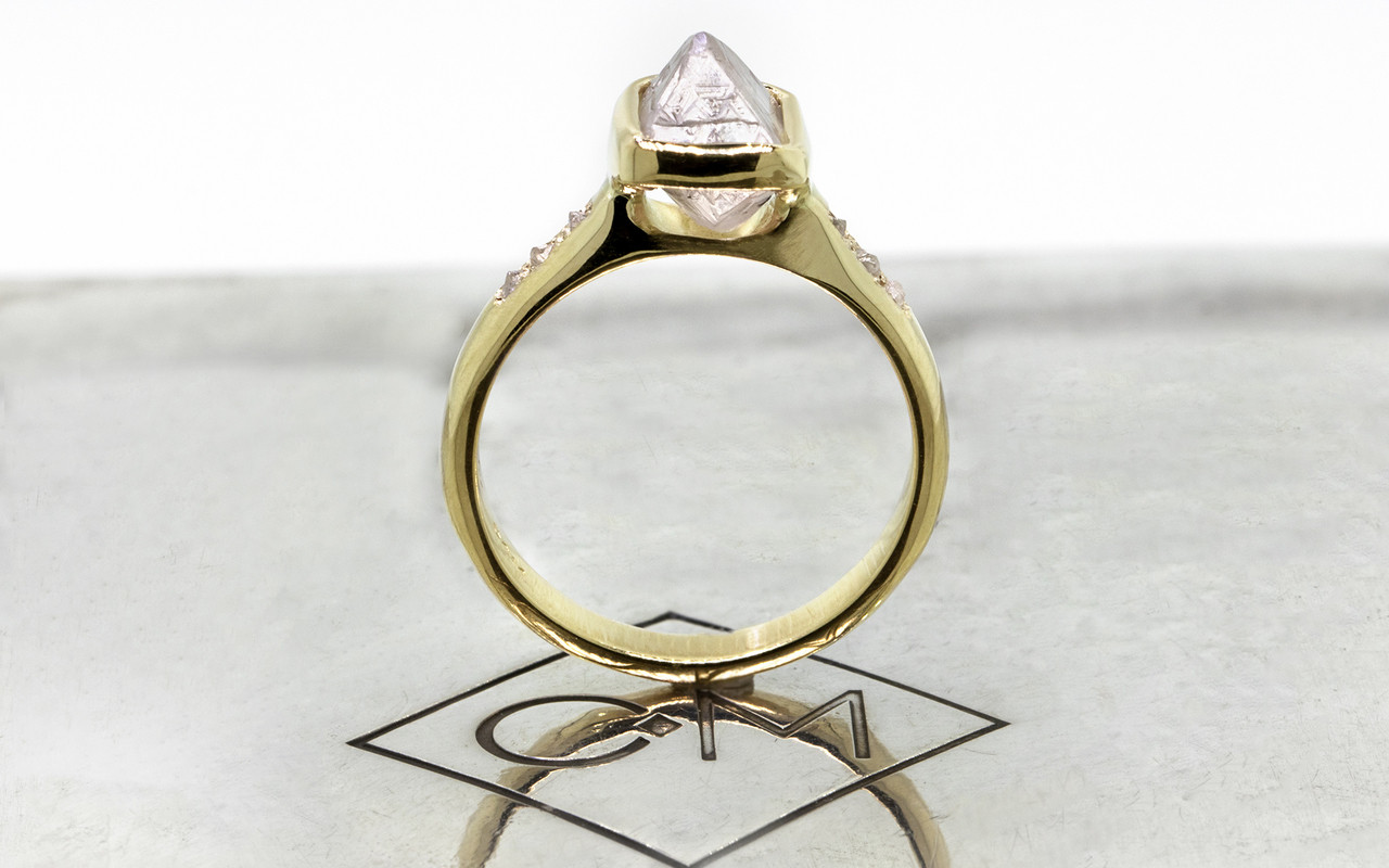2.47 carat rough gray diamond six rough diamonds 14k yellow gold band standing up view on metal background with Chinchar/Maloney logo