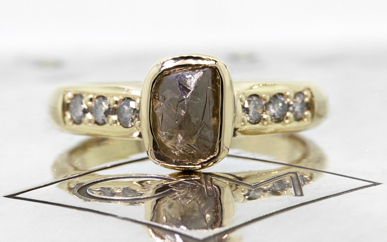 1.79 carat rough cocoa diamond six 2mm brilliant gray diamonds 14k yellow gold band front view on metal background with Chinchar/Maloney logo