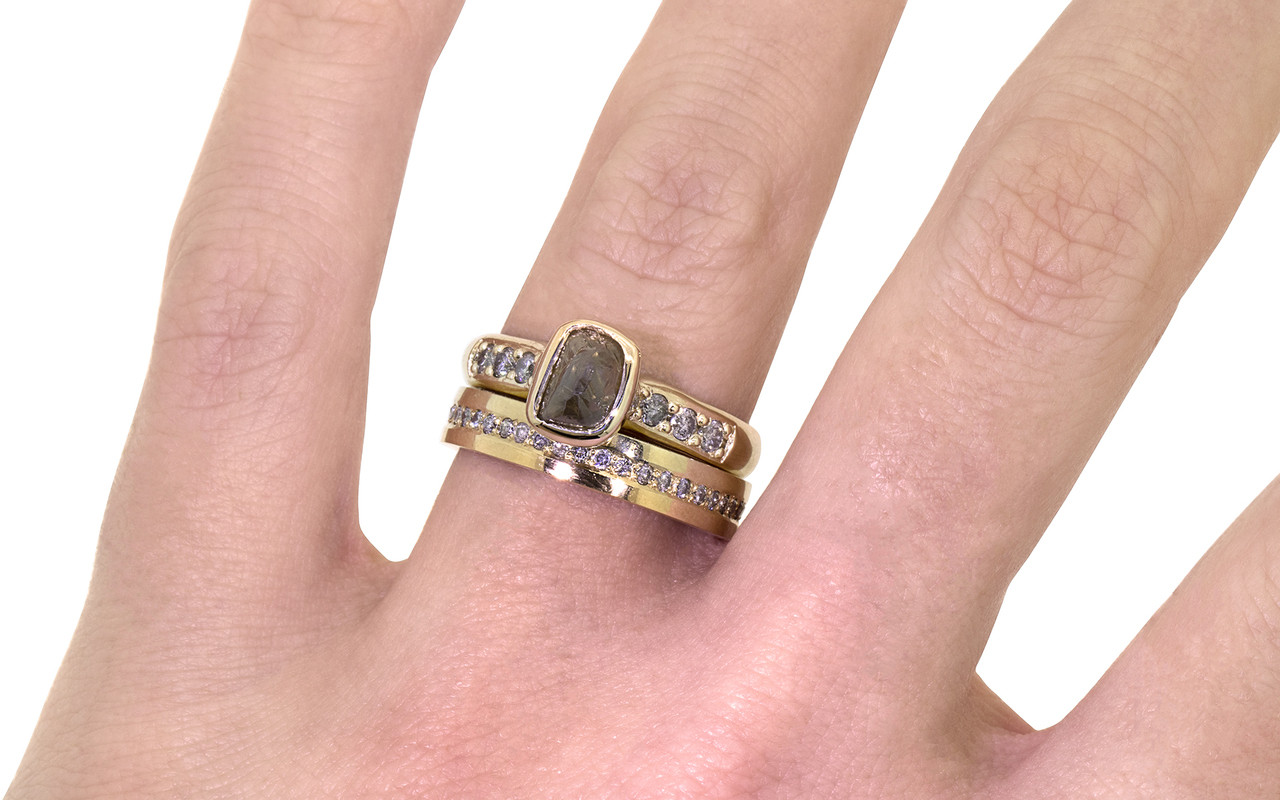 1.79 carat rough cocoa diamond six 2mm brilliant gray diamonds band 14k yellow gold with eternity Wedding Band with Gray Diamonds on a hand