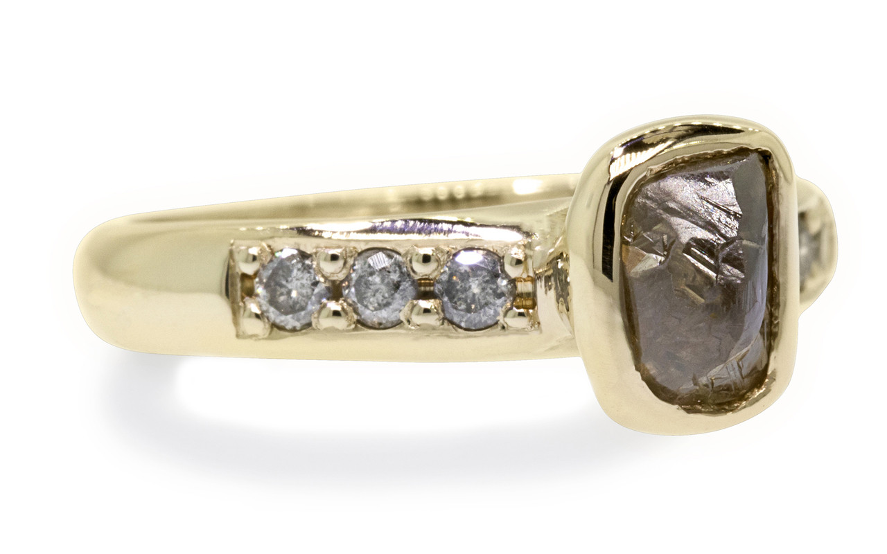 1.79 carat rough cocoa diamond six 2mm brilliant gray diamonds 14k yellow gold band front view on white background