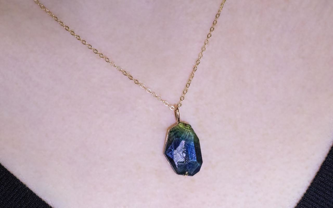 645 carat hand cut bluegreen sapphire necklace in yellow gold 645 hand cut blue green sapphire necklace set in 14k white gold with 14k white aloadofball Image collections