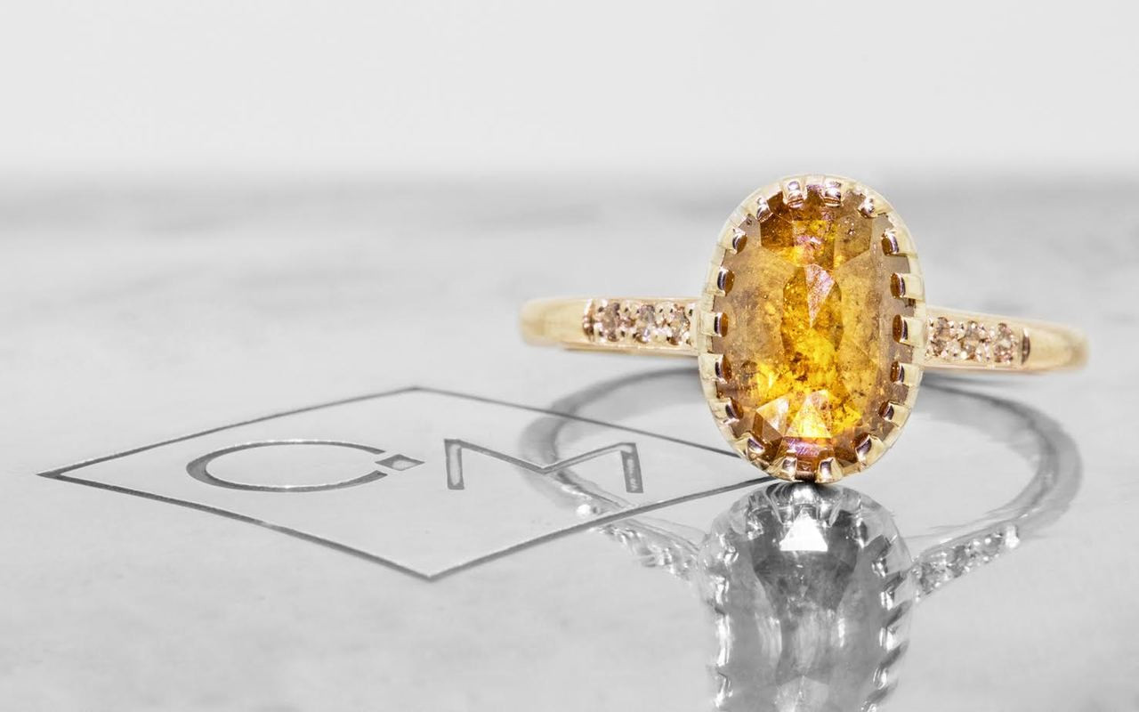 2 03 Carat Oval Rose Cut Glowing Deep Orange Amber G Bezel