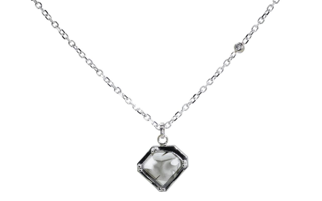 EDZIZA 14K white gold .93 carat salt and pepper diamond pendant on 14k white gold chain with 2mm brilliant gray diamond set in the chain.