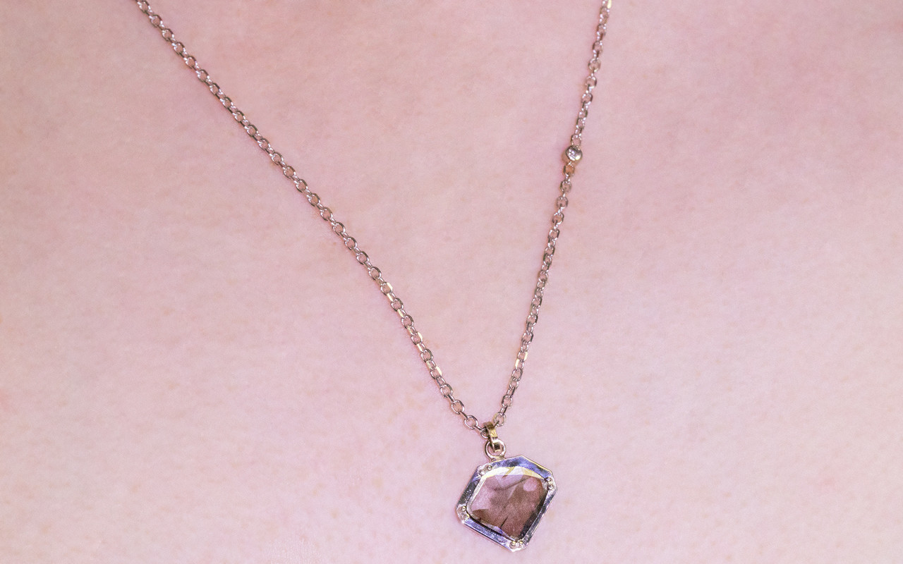 EDZIZA 14K white gold .93 carat salt and pepper diamond pendant on 14k white gold chain with 2mm brilliant gray diamond set in the chain. Modeled on neck