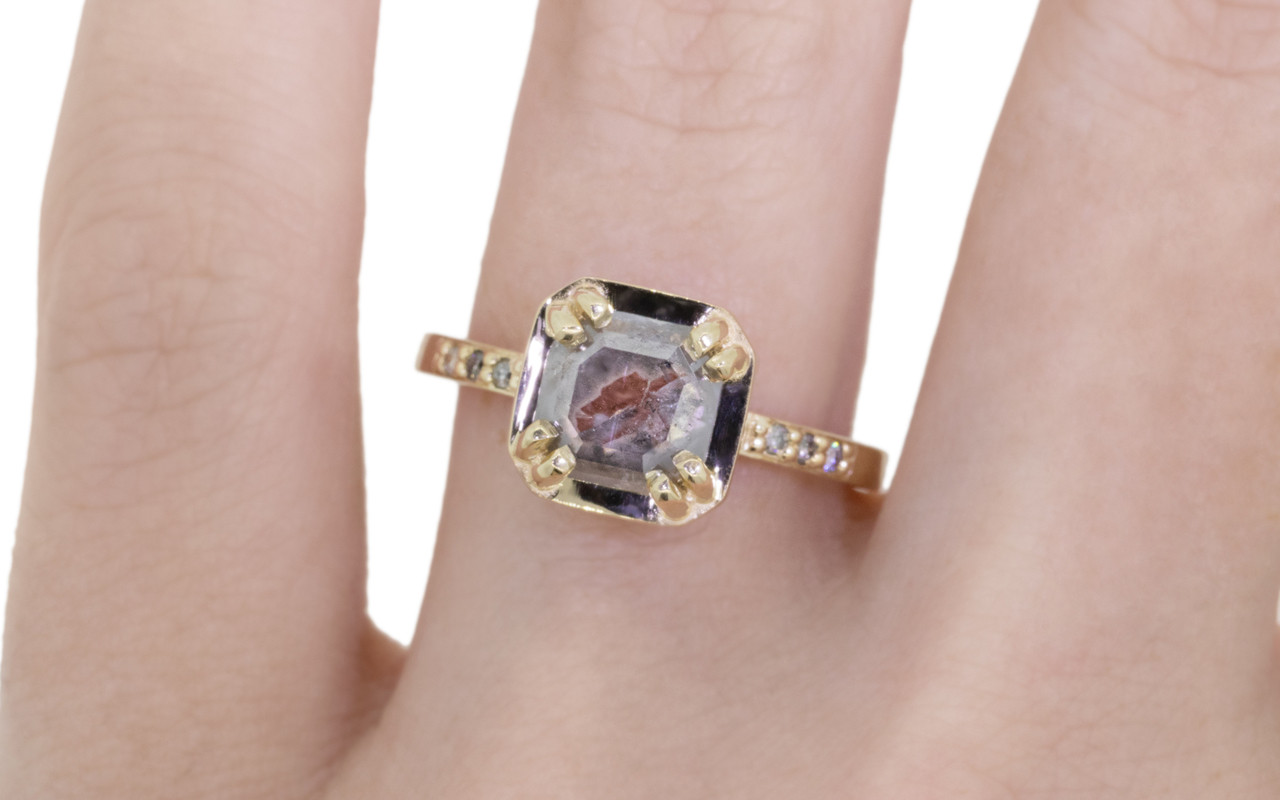 MAROA Ring in Yellow Gold with .89 Carat Gray and Clear White ...