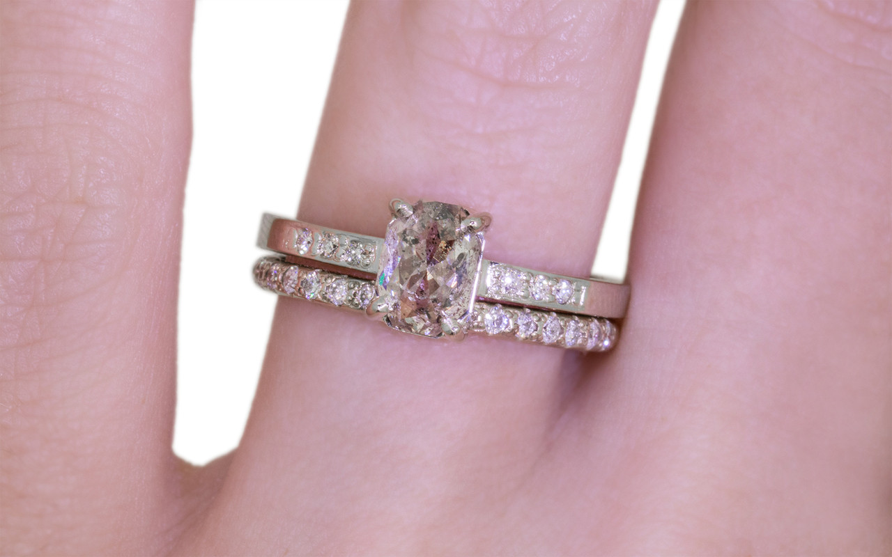 1.12 Carat Salt and Pepper Diamond Ring in White Gold - CHINCHAR•MALONEY