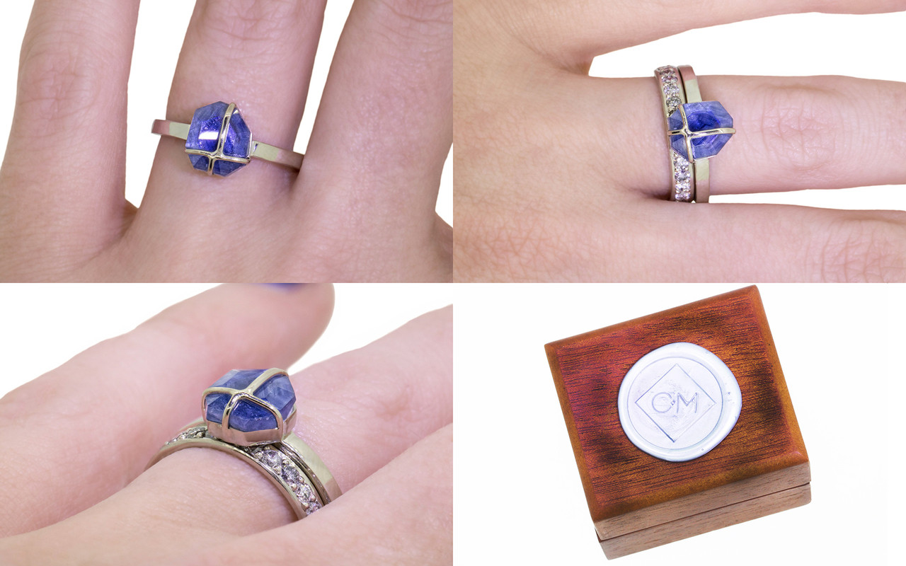 1.66 Carat Hand-Cut Sapphire Ring in White Gold - CHINCHAR•MALONEY