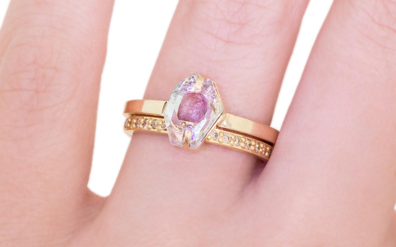 1.37 Carat Hand-Cut Aquamarine Ring in Yellow Gold - CHINCHAR•MALONEY