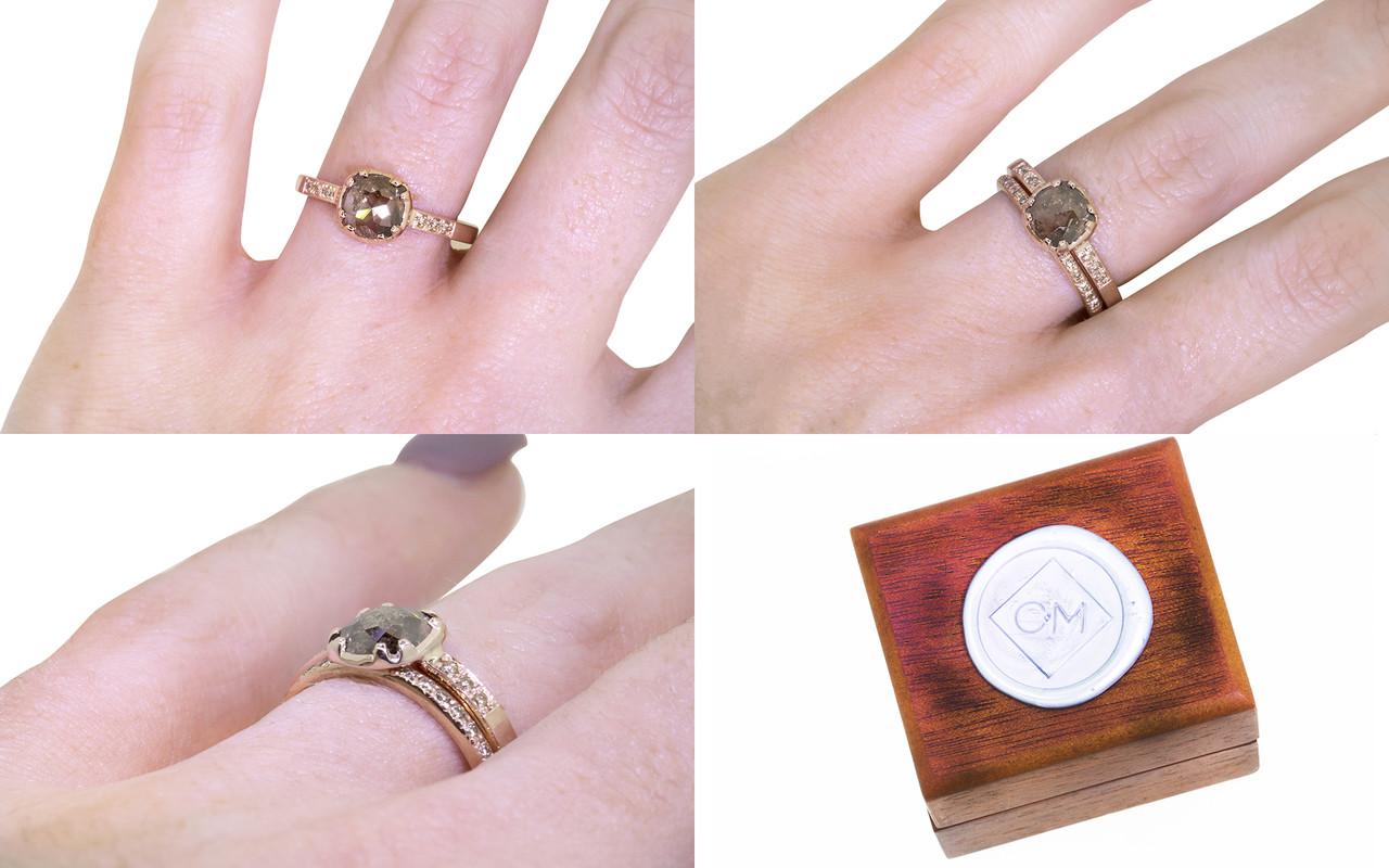 84 Carat Smoky Champagne Diamond Ring in Rose Gold - CHINCHAR•MALONEY