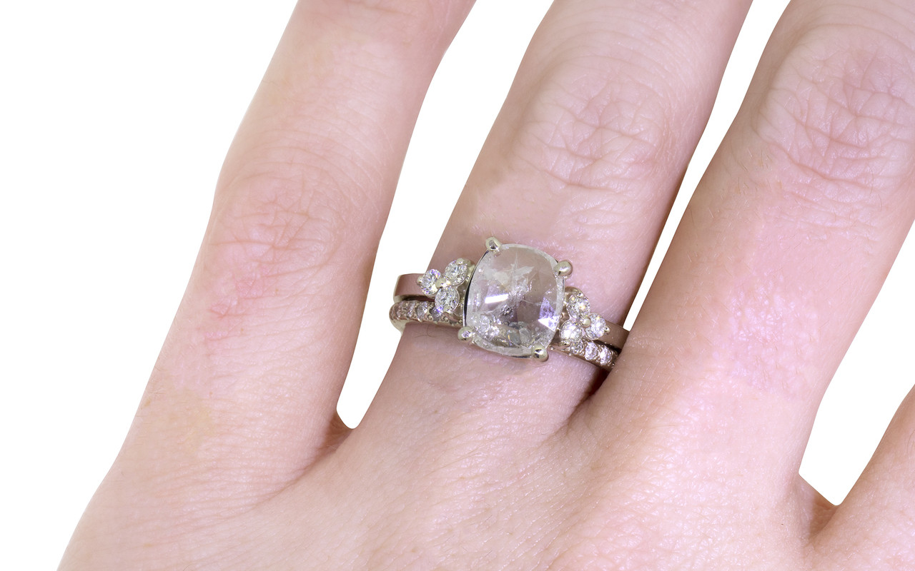1.54 Carat Rustic White Diamond Ring in White Gold Maloney