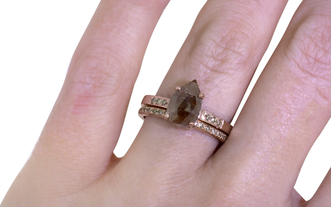 2.03 Carat Rustic Cognac Diamond Ring in Rose Gold - CHINCHAR•MALONEY
