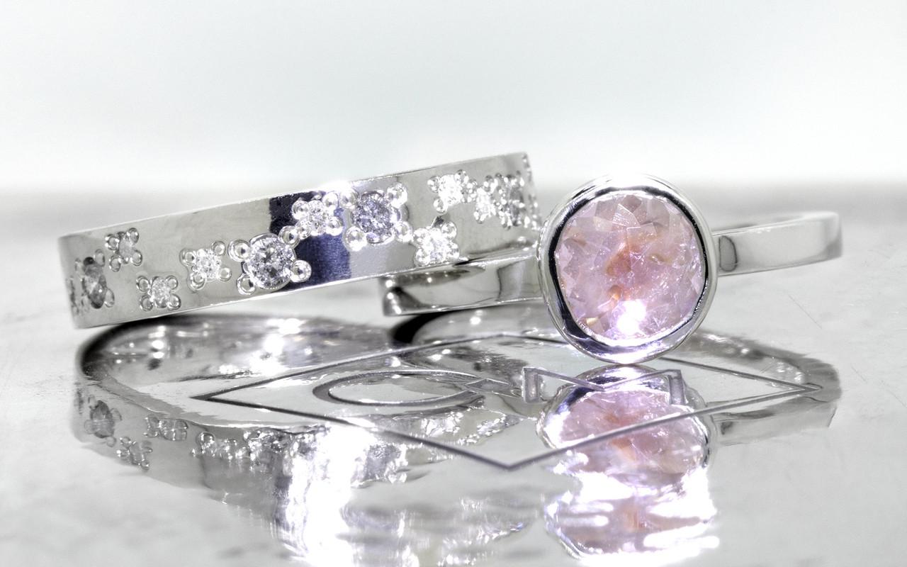 .61 carat  rose cut rosey pink bezel set diamond ring set in 14k white gold flat band. With Organic Wedding Band with brilliant gray and white diamonds set in 14k white gold 4mm flat band