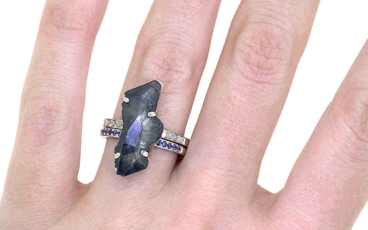 5.93 Carat Hand-Cut Sapphire Ring in White Gold - Maloney
