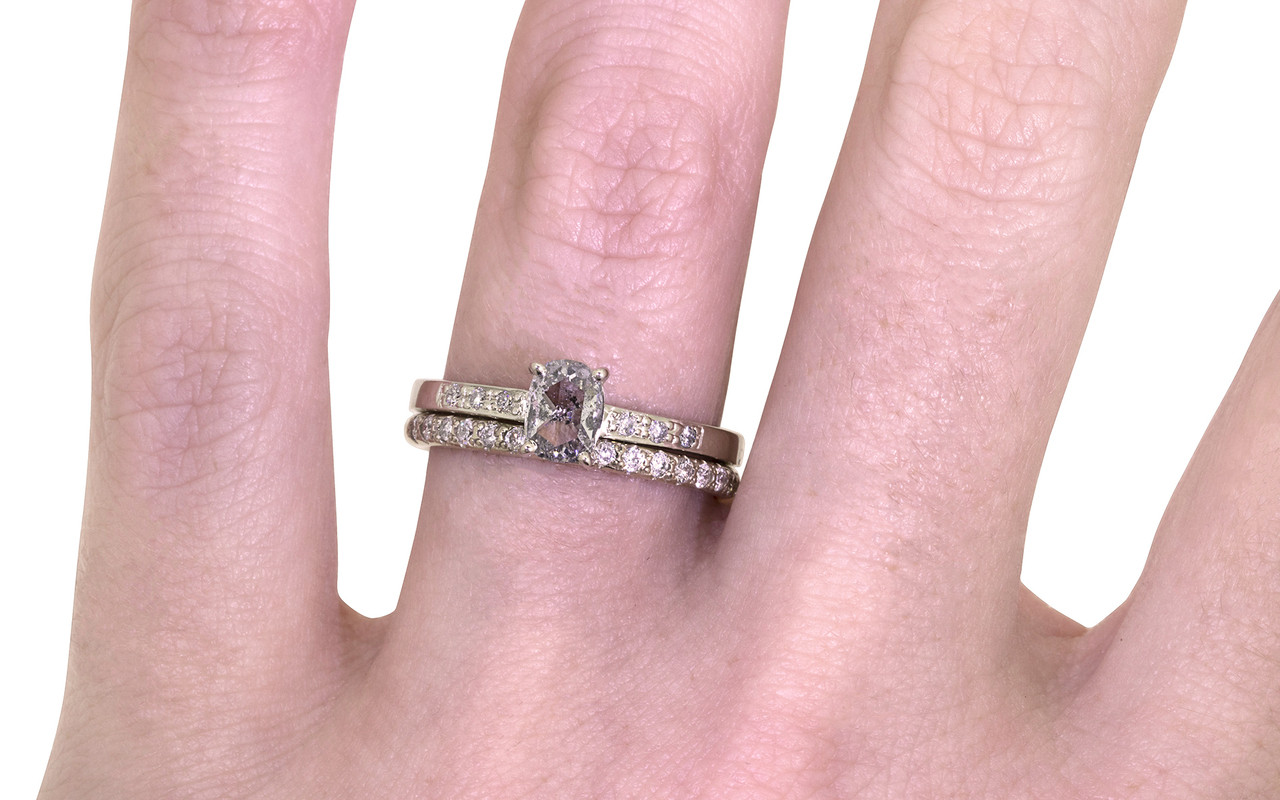 54 Carat Salt and Pepper Diamond Ring in White Gold