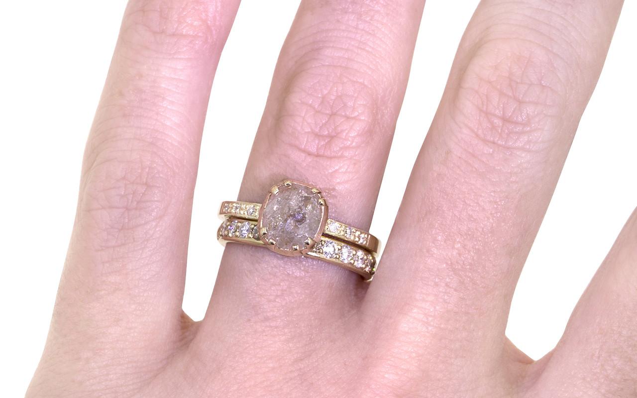 1.45 Carat Light Peach Diamond Ring in Yellow Gold - CHINCHAR•MALONEY