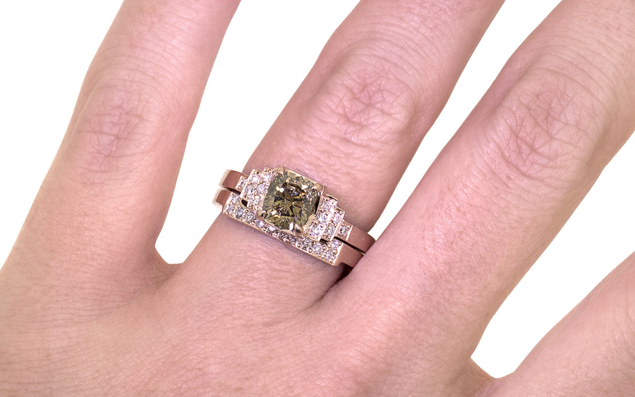1.06 Carat Dark Champagne Diamond Wedding Set in Rose Gold ...