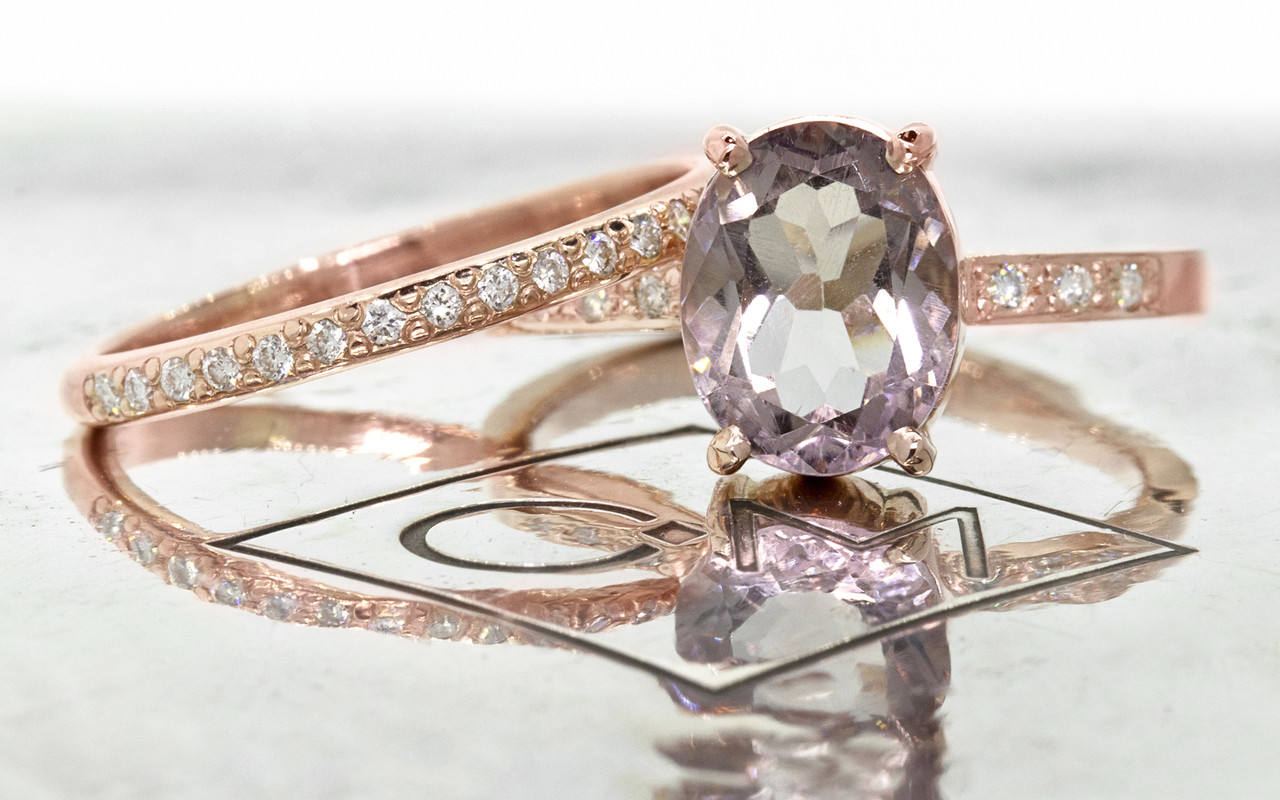 1.99 carat oval faceted cut light pink morganite with six 1.2mm brilliant white diamonds in band set in 14k rose gold flat band. with Wedding Band 16 brilliant white diamonds set in 14k rose gold