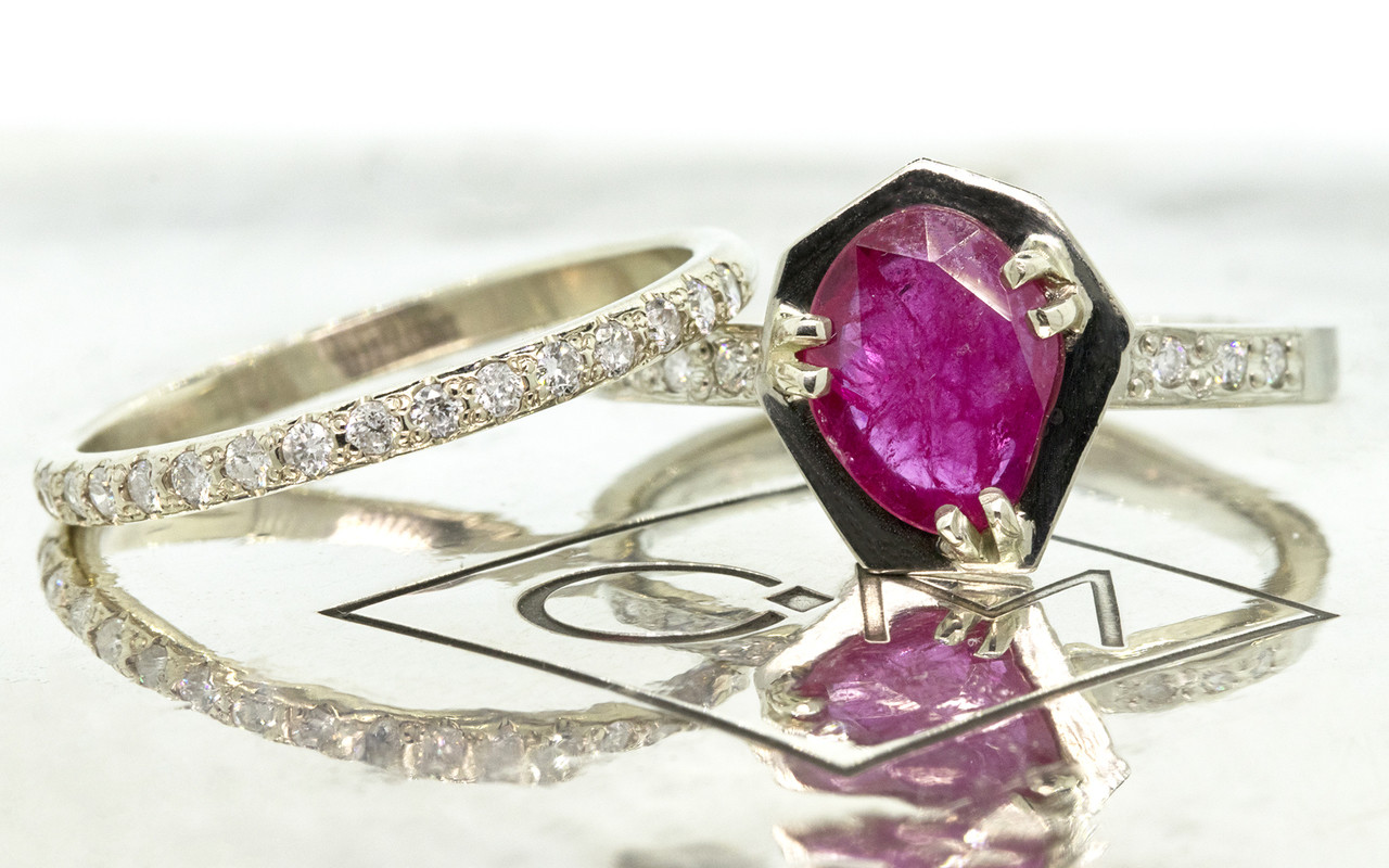 KIKAI .84 carat ruby in 14k white gold six 1.2mm brilliant white diamonds set in band with 14k whit gold Wedding Band with 16 white Diamonds from New Classic Collection