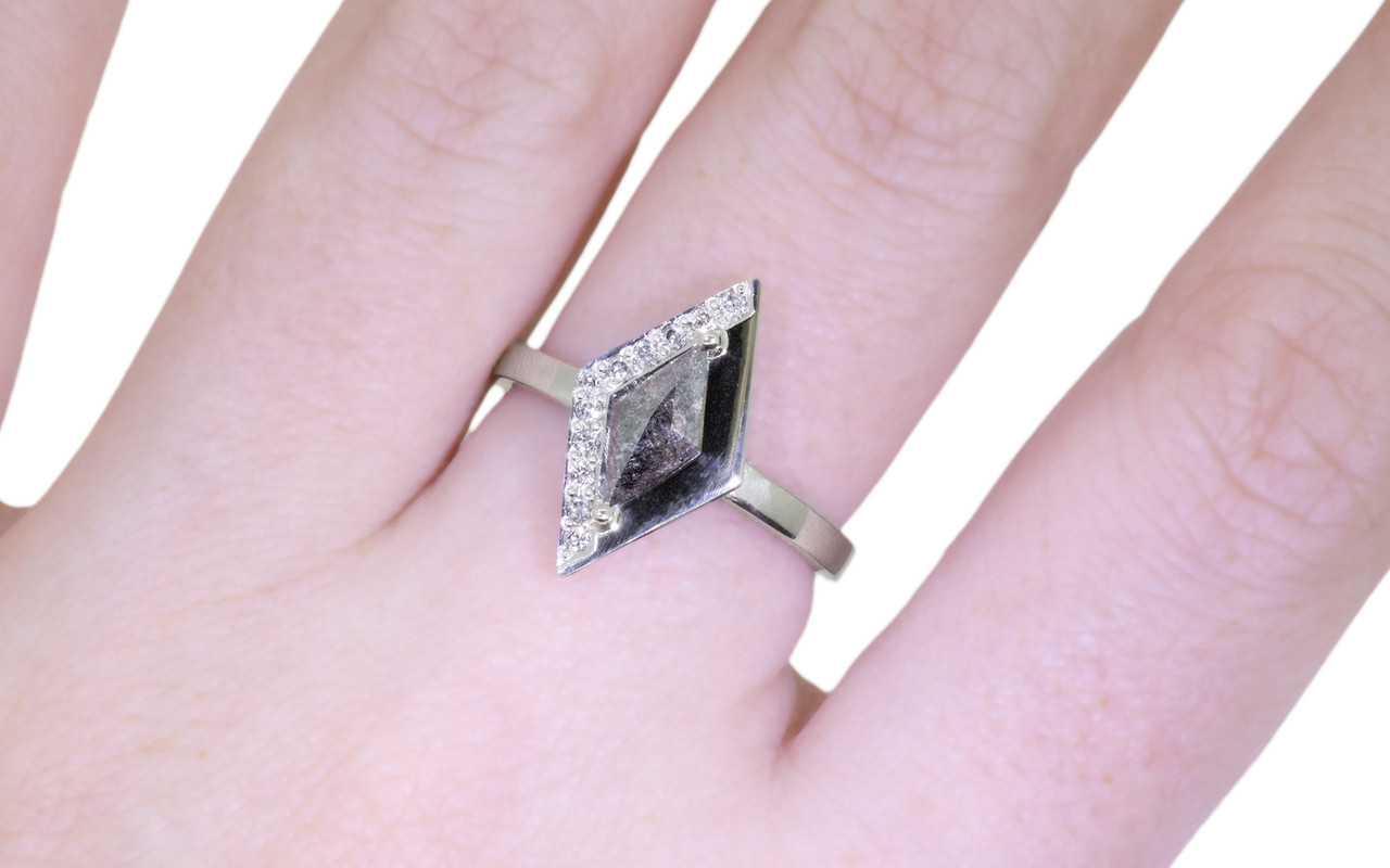 TOBA Ring in White Gold with .63 Carat Salt and Pepper Diamond ...