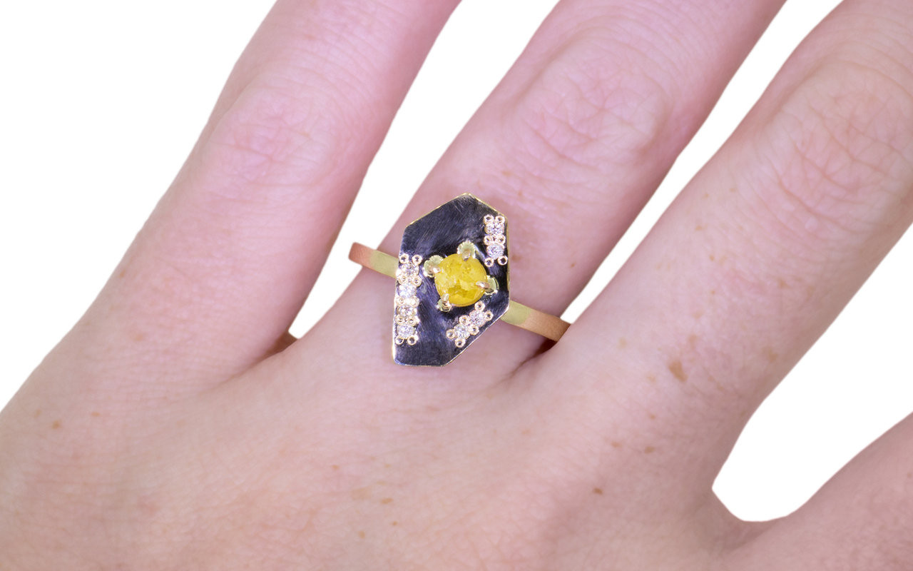 TOBA Ring in Yellow Gold with .33 Carat Yellow Diamond - CHINCHAR ...