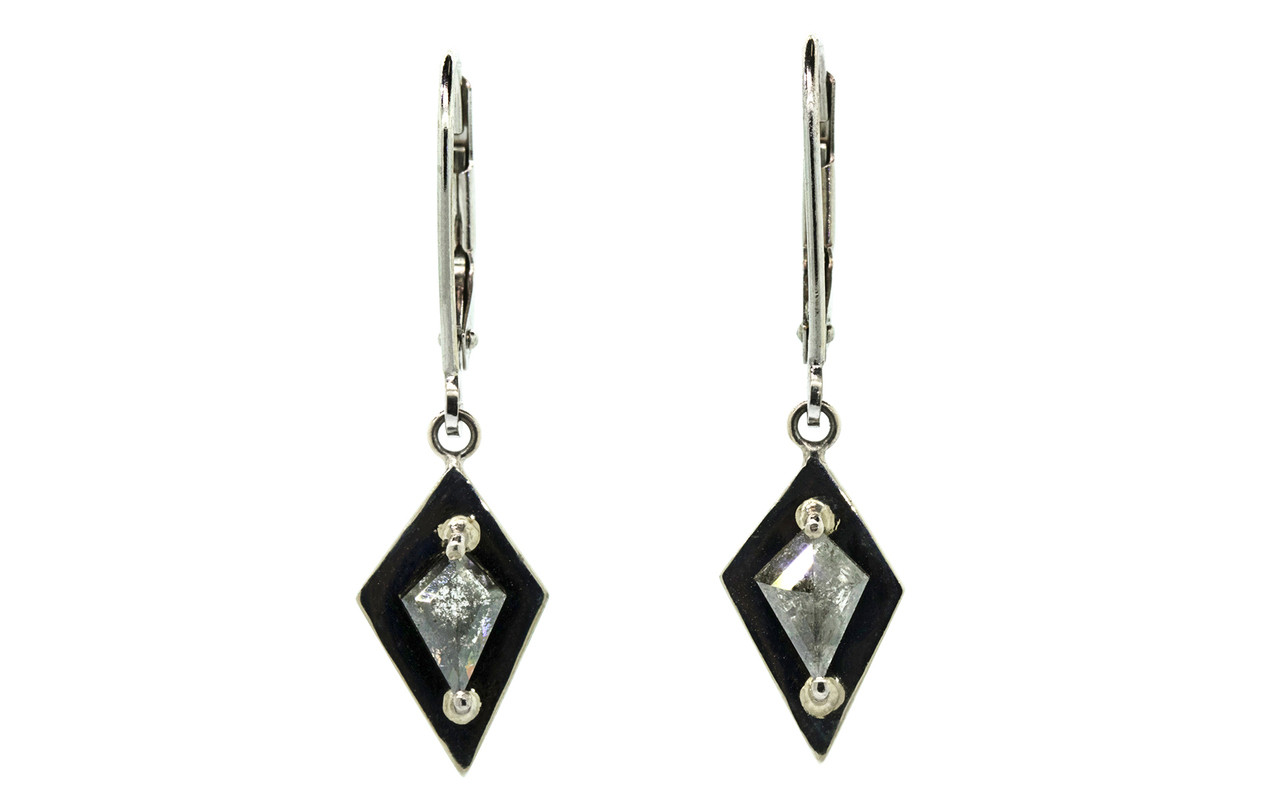 TOBA .82 carat kite rose cut salt and pepper diamond dangle earrings set in 14k white gold. Part of our New Classic Collection. Front view on white background